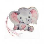 Βιβλίο ευχών τυπωμένο ελεφαντάκι ρόζ