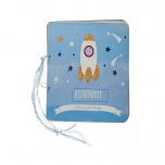 Βιβλίο ευχών τυπωμένο astronaut πύραυλος