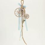 Μπομπονιέρα βάπτισης κρεμαστή με ξύλινο ποδήλατο