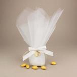 Μπομπονιέρα γάμου από διπλό τούλι με επίχρυσο μεταλλικό διακοσμητικό