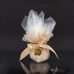 Μπομπονιέρα γάμου πουγκί δαντέλα με τραντάφυλλο