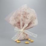 Μπομπονιέρα γάμου ροζ φλοράλ μαντίλι