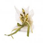 Μπομπονιέρα βαπτισης μεταλλικό κλαδί ελιάς χρυσό