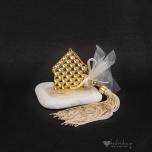 Μπομπονιέρα γάμου χρυσό σπίτι με φούντα