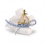 Μπομπονιέρα βάπτισης μεταλλικό καραβάκι σε βότσαλο