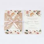 Προσκλητήριο γάμου παστέλ φλοράλ μοτίβο Tsantakides
