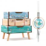 Σετ βάπτισης θέμα Γύρος του κόσμου με ξύλινη συρταριέρα