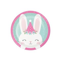 Χάρτινα πιάτα γλυκού Birthday Bunny 8τεμ