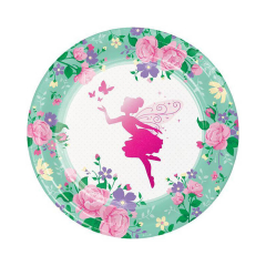 Χάρτινα πιάτα φαγητού Floral Fairy 8τεμ 22εκ