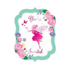 Προσκλήσεις γενεθλίων Floral Fairy 8τεμ