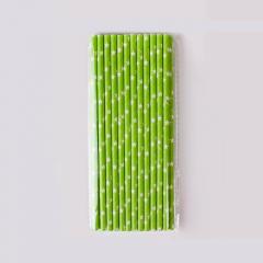 Χάρτινα καλαμάκια με αστεράκια σε λαχανί φόντο