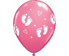 Μπαλόνια λάτεξ 28εκ. Baby Footprints Rose 5τεμ.