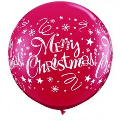 Χριστουγεννιάτικα κόκκινα μπαλόνια λατέξ Merry Christmas γίγας
