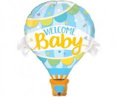Μπαλόνι Φοιλ γαλάζιο Αερόστατο Welcome Baby 107εκ.