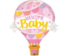 Μπαλόνι Φοιλ ροζ Αερόστατο Welcome Baby 107εκ.