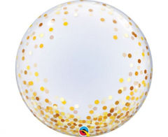 Μπαλόνι λάτεξ Deco Bubble Gold Confetti Dots