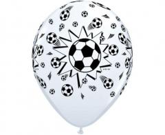 Μπαλόνια λευκά με ποδοσφαιρικές μπάλες 5τεμ.