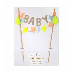 Διακοσμητικό τούρτας με επιγραφή Baby Party Meri Meri