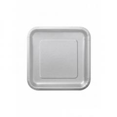 Πιάτο χάρτινο γλυκού σε ασημί χρώμα 17 εκ