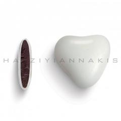 Κουφέτα σοκολάτας καρδιά λευκή γυαλισμένη 1kg