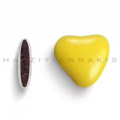 Κουφέτα σοκολάτας καρδιά κίτρινο γυαλισμένο 1kg