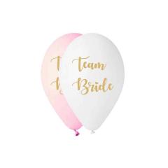 Μπαλόνι μπάτσελορ Team Bride λευκό-ροζ 5τμχ