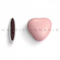 Κουφέτα σοκολάτας μεσαία καρδιά ροζ ανοιχτό ματ 1kg
