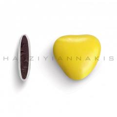 Κουφέτα σοκολάτας μεσαία καρδιά κίτρινο γυαλισμένο 1kg