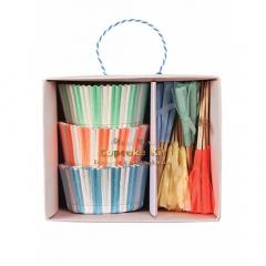 Cupcake kit ριγέ με σημαιάκια Baby Party Meri Meri