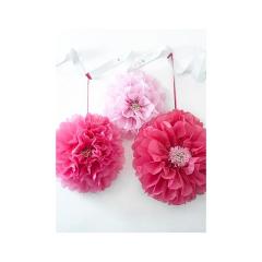 Διακοσμητικά Λουλούδια Pom Pom ροζ αποχρώσεις
