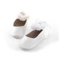 Παπούτσι βάπτισης μπαλαρίνα δέσιμο από Chiffon λουλούδια Babywalker