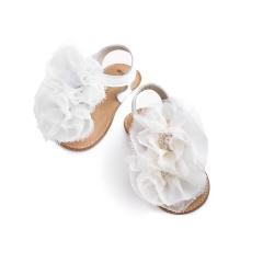 Παπούτσι βάπτισης πέδιλο δερμάτινο με υφασμάτινο λουλούδι Babywalker