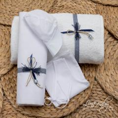 Λαδόπανο βαμβακερό για αγόρι Μπλε Φιόγκος