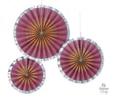 Διακοσμητικές Βεντάλιες Χάρτινες Ροζ Χρυσό Ombre 3τεμ.