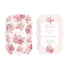 Προσκλητήριο βάπτισης floral με κοπτικό 2 όψεων Twenty 2 Twins
