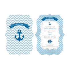 Προσκλητήριο βάπτισης άγκυρα ναυτικό με κοπτικό 2 όψεων Twenty 2 Twins
