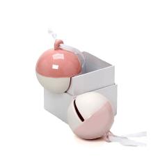 Μπομπονιέρα βάπτισης πορσελάνινο κουδούνι ροζ