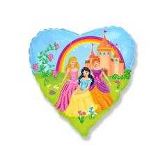 Μπαλόνι φόιλ καρδιά με πριγκίπισσες 45εκ