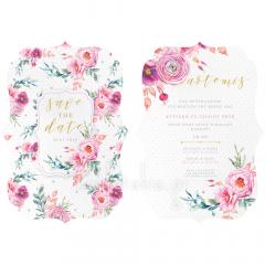Προσκλητήριο βάπτισης με κοπτικό floral με ροζ πουά 2 όψεων Twenty 2 Twins
