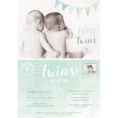Προσκλητήριο βάπτισης card postal για δίδυμα αγοράκια Twenty 2 Twins