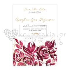 Προσκλητήριο γάμου μπορντό τριαντάφυλλα Twenty2Twins