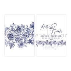 Προσκλητήριο γάμου μπλε φλοράλ ρυζόχαρτο Twenty2Twins