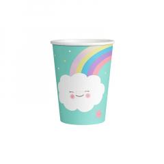Χάρτινα ποτήρια Rainbow & Cloud 8 τμχ