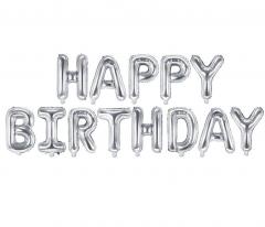 Μπαλόνια φράση Happy Birthday ασημί 13τεμ.