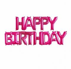 Μπαλόνια φράση Happy Birthday φούξια 13τεμ.