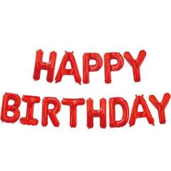 Μπαλόνια φράση Happy Birthday κόκκινα 13τεμ.