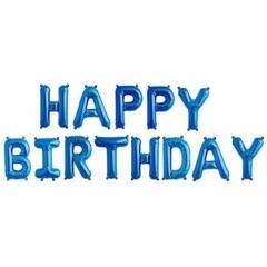 Μπαλόνια φράση Happy Birthday μπλε 13τεμ.