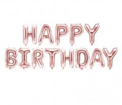 Μπαλόνια φράση Happy Birthday ροζ χρυσό 13τεμ.