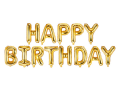 Μπαλόνια φράση Happy Birthday χρυσά 13τεμ.