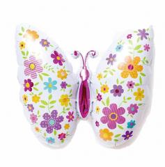 Μπαλόνι φόιλ πεταλούδα με λουλούδια 85εκ.